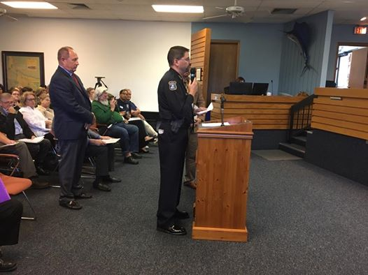 Stuart Police Chief Dave Dyess making a case for a new ball park.
