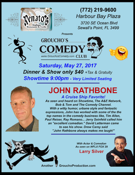 NEW ROOM -JOHN RATHBONE A Cruise Ship Favorite-Saturday May 27th - Renatos -Stuart