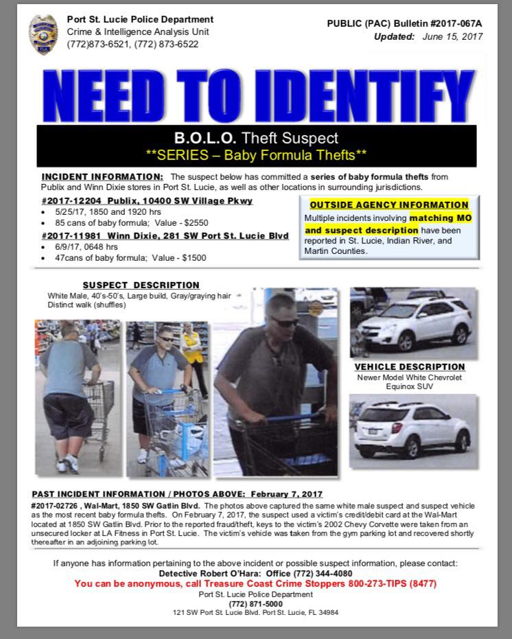 PSL BOLO: Baby Formula Thief - Treasure Coast - Connecting our ...