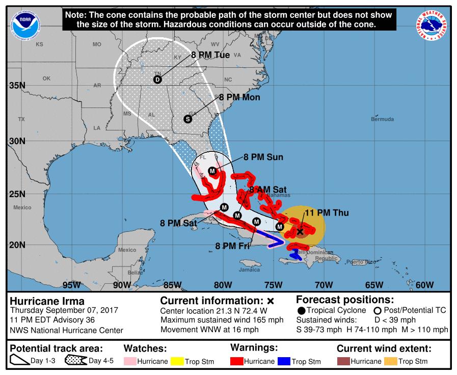 Hurricane Watch Treasure Coast, warning for Jupiter inlet south
