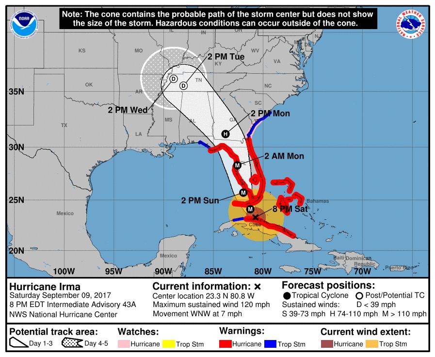Hurricane Irma PM update Sept 9 2017