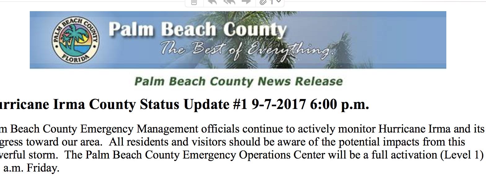 PBC Hurricane Irma County Status Update #1 9-7-2017 6:00 p.m.