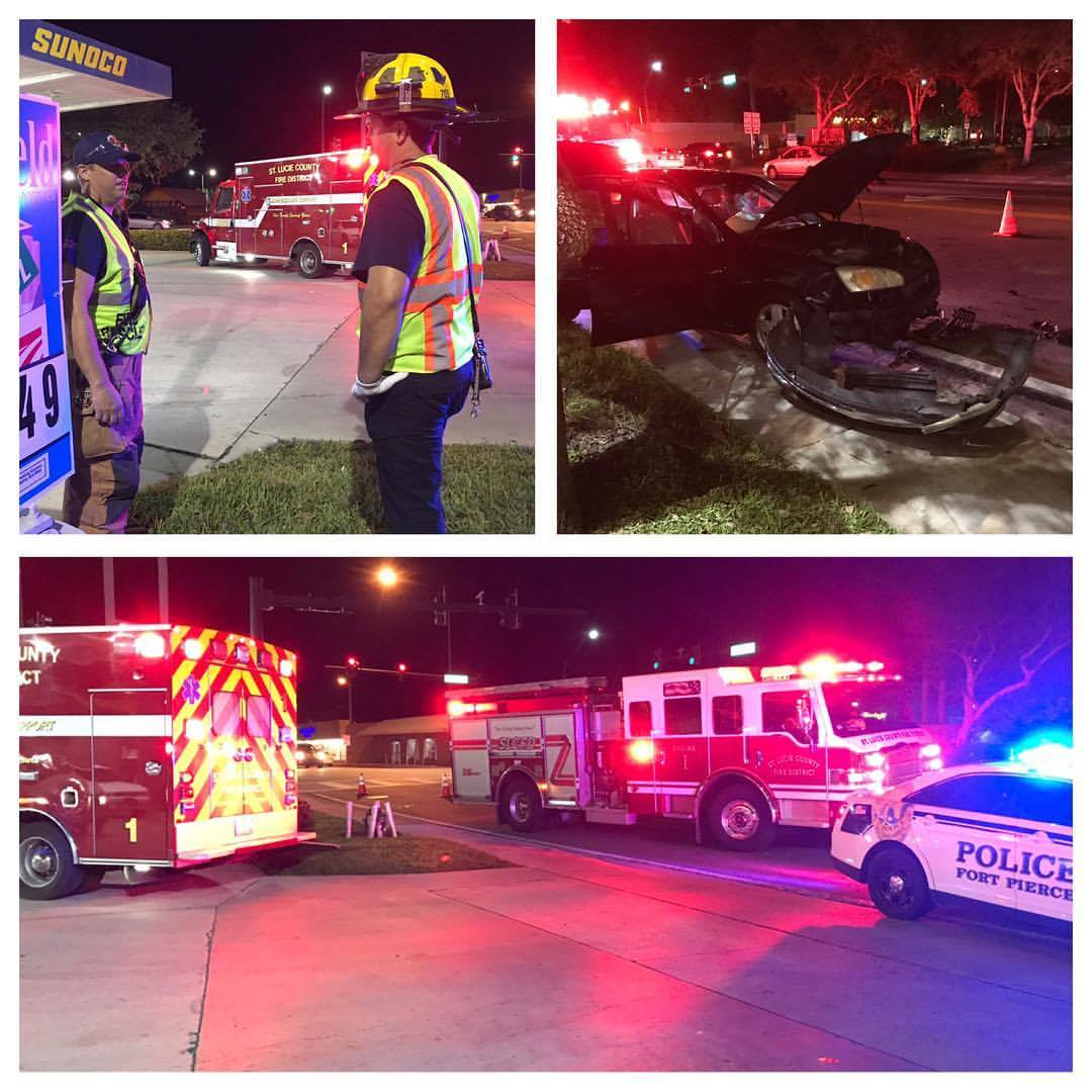 One person sent to hospital after Ft Pierce car crash