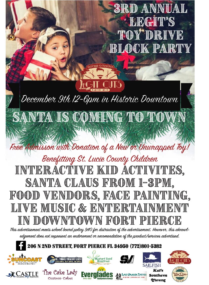 Santa's on his Way! 3rd Annual Toy Drive Block Party Dec 9