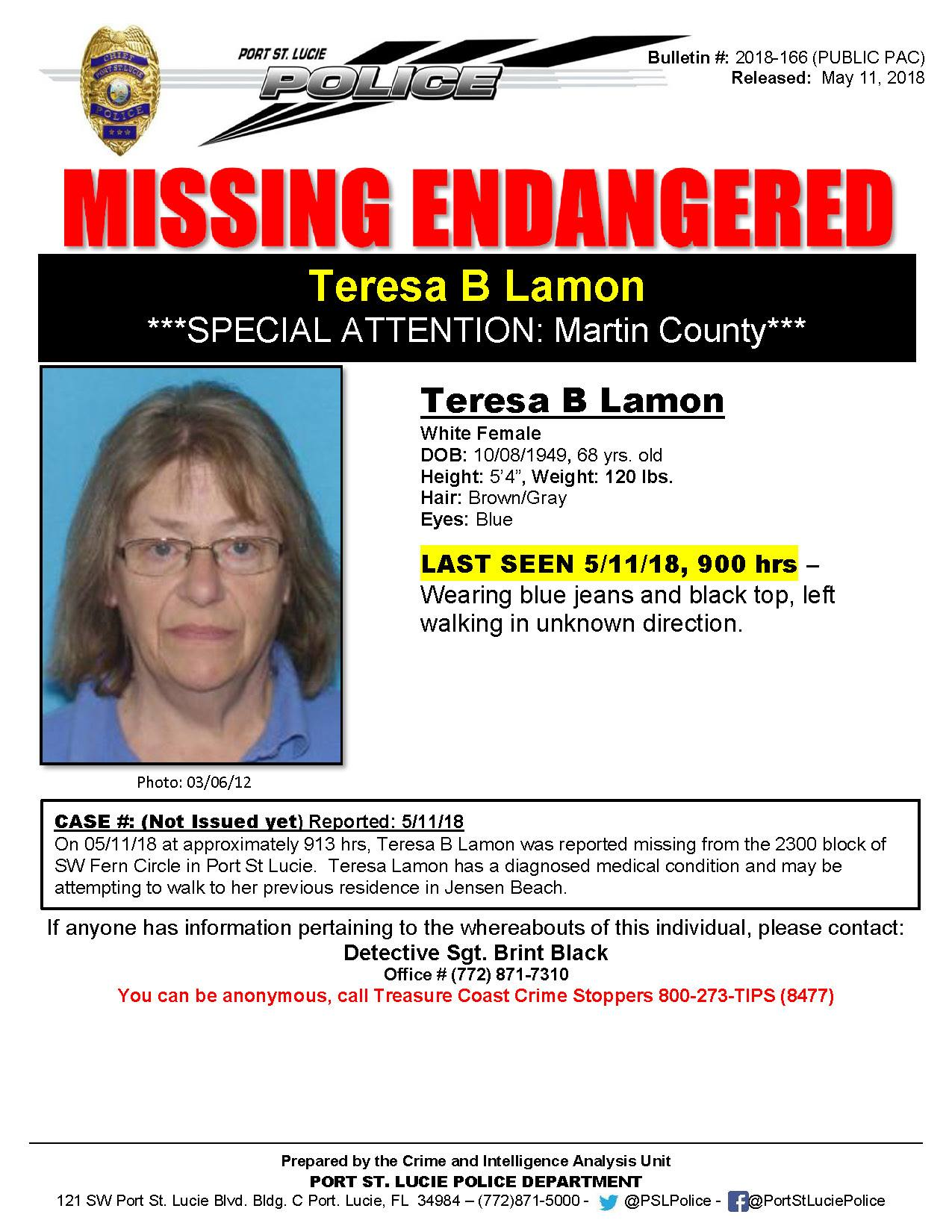 PSLPD searching for Missing and Endangered 70 year old Port