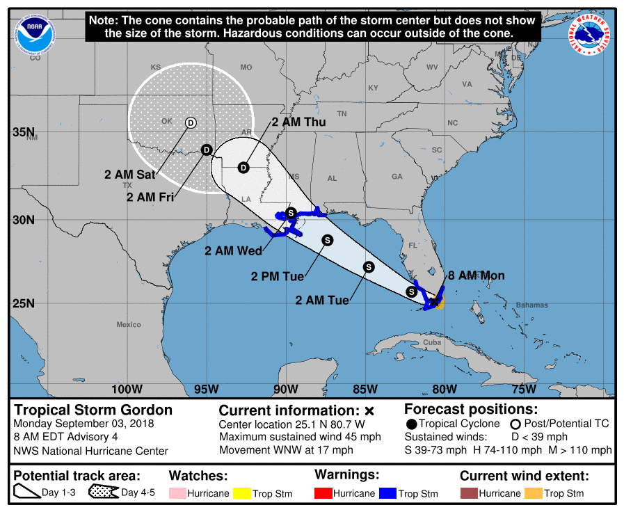 Tropical Storm Gordon forms near the Florida Keys