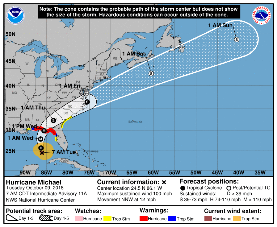 Hurricane Michael now a Cat 2 hurricane
