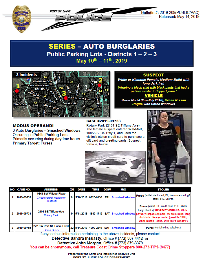 Port St. Lucie Police urge citizens to remove valuables from cars after series of auto burglaries