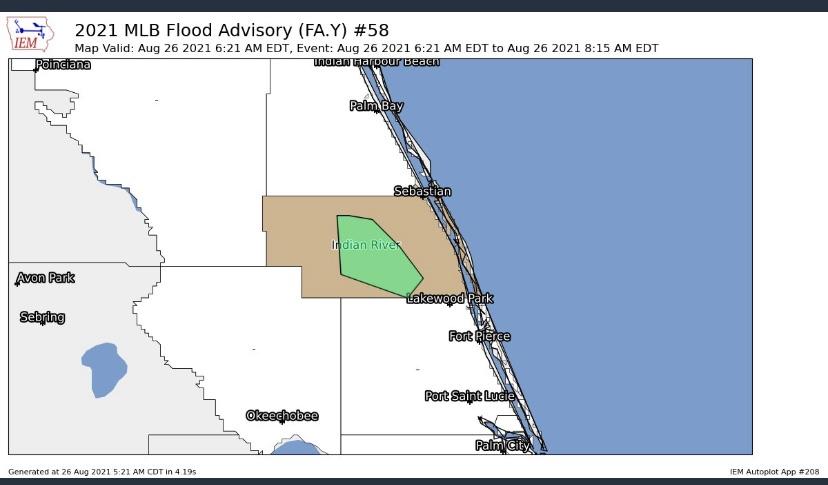 Flood warning issued