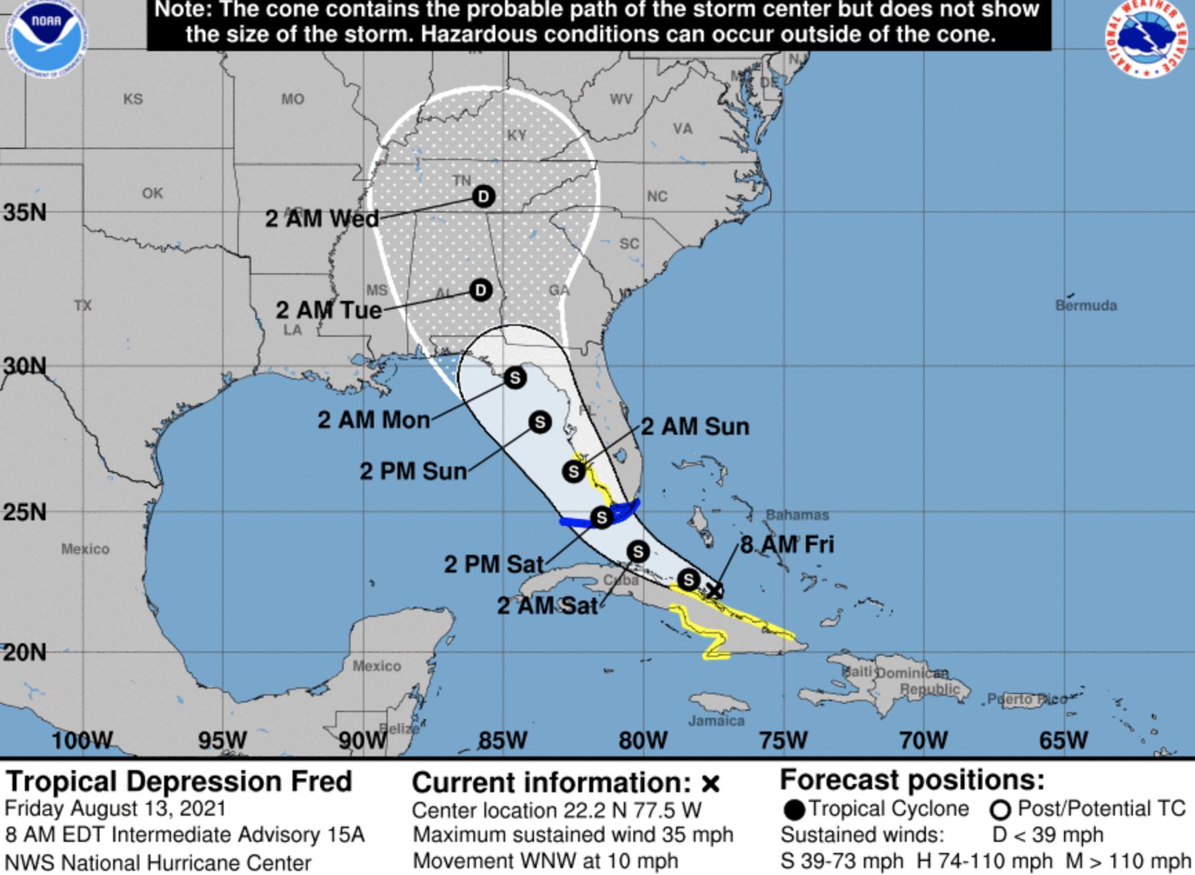 Fred takes aim at Florida