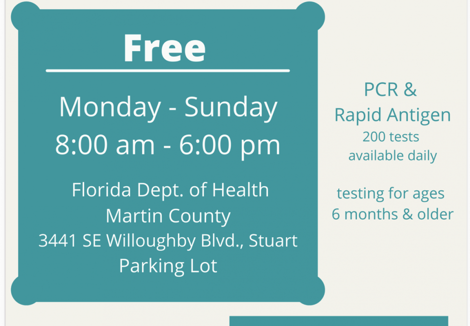 FLORIDA DEPARTMENT OF HEALTH ANNOUNCES NEW COVID-19 TESTING SITES
