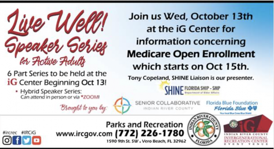 Indian River County Parks & Recreation Announces New Speaker Series for Active Adults